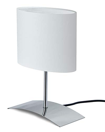 """Trango Lámpara de mesa de diseño Lámpara de noche lámpara de escritorio Lámpara TG2018-04W""""WHITE"""" con pantalla de tela en blanco"""