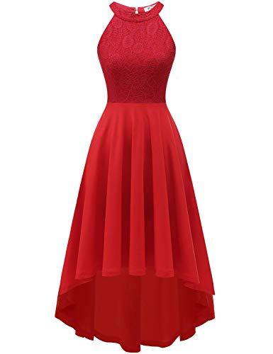 YOYAKER Damen Vintage Retro Spitzen Ärmellos Vokuhila Brautjungfernkleider Cocktail Party Abendkleider Red 2XL - Hochzeits-abend-kleid