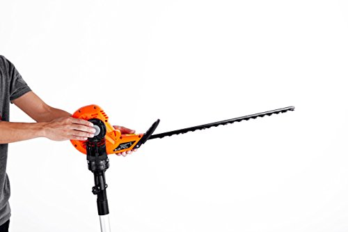 31g 6nS1SBL - eSkde LPHT2 Long Reach Telescopic Hedge Trimmer Multi Angle Head, 450 W, 240 V, Black and Orange