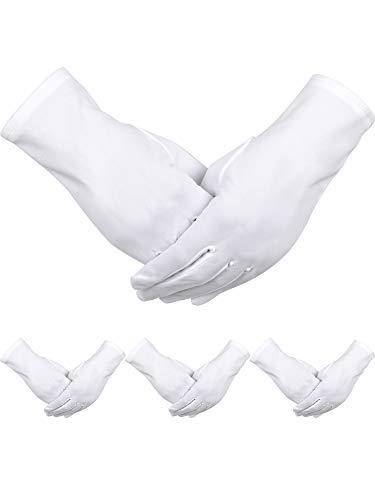 4 Paar Erwachsene Uniform Handschuhe Spandex Handschuhe Kleid Handschuh für Polizei Formal Smoking Parade Kostüm (Weiß B)