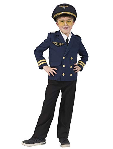 TrendClub100® Bruchpilot Peter Pilot Kostüm für Kinder Jungs (K, 140) (Pilot Kostüm Für Kinder)