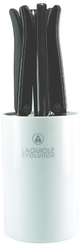 Laguiole Production 445650 - Bloc blanc de 6 Couteaux Steak Laguiole ACIDULE noir carbone