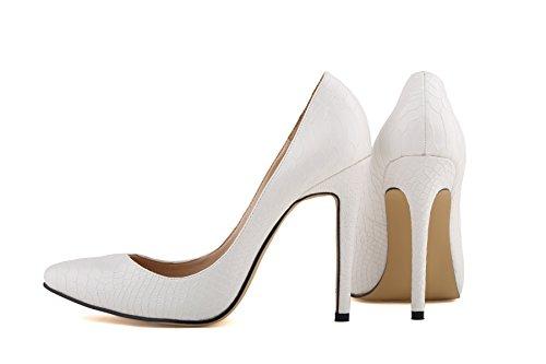 HooH Femmes Sexy Léopard Pointu Stiletto Escarpins Blanc