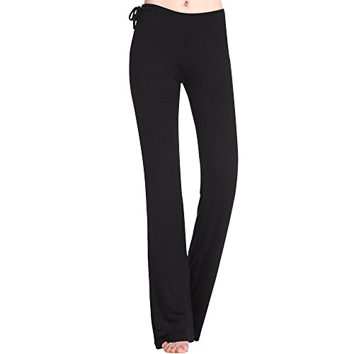 Beonzale Sommer Damen Boot Leg Yoga Hose Lange Laufhose mit Taschen Volltonfarbe Fitnesshose Yogahose Schlanke Röhrenhose Rei Fleece Hose