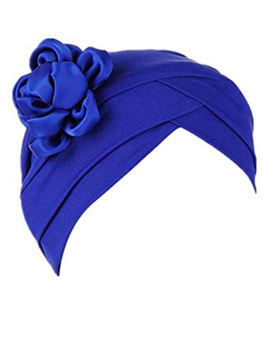 TEBAISE Turban-Hüte Damen Blume Muslimische Hüte Muslim Kopftuch Indische Indien Mütze Wrap Hijab Cap Baumwollmütze für Chemo Cancer Haarausfall Krebs Haarverlust 2019 Sommer Stil D