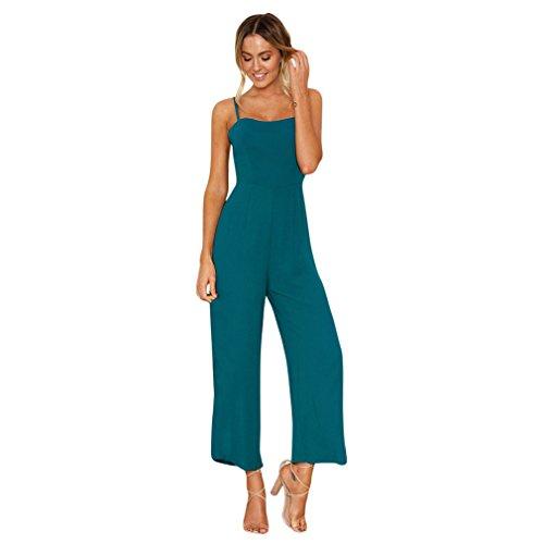 Italily - monopezzi e tutine,tuta elegante lunga donna,donne sexy spaghetti tuta scollato moda ampia gamba pantaloni a vita alta rompers (green, s)