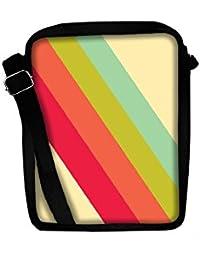 Snoogg Pastel Stripes Vector Sling Bags Crossbody Backpack Chest Day Pack Travel Bag Book Bag For Men & Women
