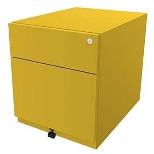 BISLEY Rollcontainer Note mit Griffleiste, 1 Universalschublade, 1 HR-Schublade, Metall, 641 Zinkgelb, 56.5 x 42 x 49.5…