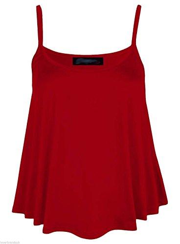 Elle Pour Femmes Uni Swing Cami à Bretelles Évasé Gilet sans Manches Top Plus Taille Bordeaux