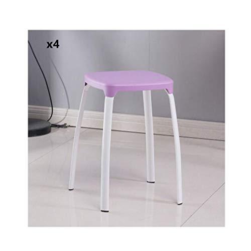 YCSD Utility Square Plastic Hocker  Buntes Haus Restaurant Stahlbeine Kleiner Stuhl Stapelbarer Sitz 4er-Set (Color : 011) - Perfekte Stuhl Square Stuhl