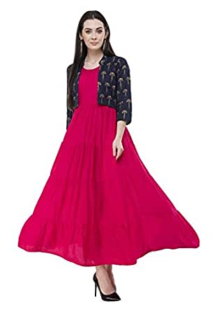 AnjuShree Choice Women Stitched Pink Rayon Anarkali Kurti