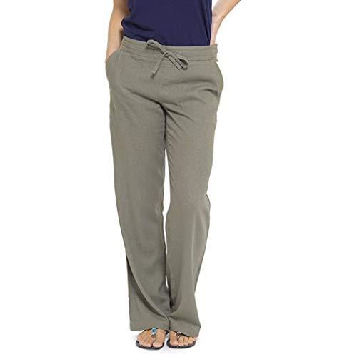 Watopi Damen Leinen Hosen Reine Farben hohe Taillen breite Bein Hosen Freizeit Strandhose Taschen Hosen lösen Hosen Haremhose Pumphose