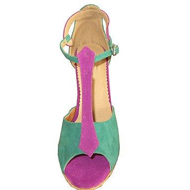 XIAMUO Angepasste Latein von Frauen angepasste Heel Sandalen Wildleder Schuhe Multi Color