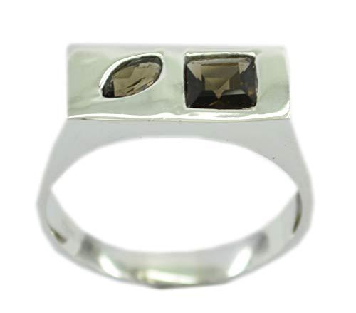 riyo Designer 925er Sterling Silber feiner natürlicher brauner Ring, Rauchquarzbraun-Edelstein-Silberring