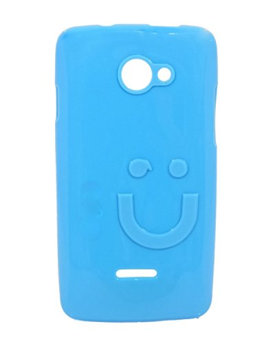 iCandy™ Imported Quality Soft TPU Smiley Back Cover For Xolo A500L - Turquoise  available at amazon for Rs.109