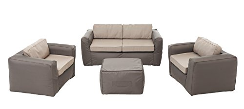Nomad 101950 Lounge Set de 2 Fauteuils 1 Place + 1 Canapé 2 Places + 1 Table Polyester Gris Taupe