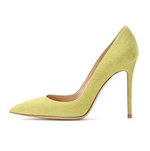 EDEFS - Escarpins Vernis Femme - Chaussures à Talons Hauts Aiguille - Bout Pointu PU Cuir - Fete Soiree Grande Taille Vert