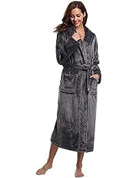 Abollria Albornoz Unisex Otoño Invierno Unisex Coral Fleece Mujer Batas Fashion Elegantes Vintage Cómodo Kimono Manga