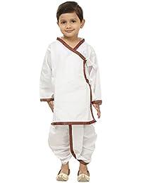 FOCIL Kids White Cotton Dhoti Kurta Pant Set With Maroon Border