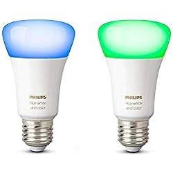 1 de Philips Hue White and Color Ambiance - Pack de 2 bombillas LED E27, 9,5 W, iluminación inteligente, 16 millones de colores, compatible con Amazon Alexa ...