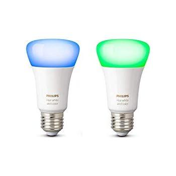 Philips Hue White and Color Ambiance - Pack de 2 bombillas LED E27, 9,5 W, iluminación inteligente, 16 millones de colores, compatible con Amazon ...