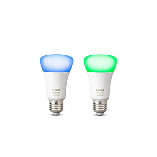 Philips Hue White and Color Ambiance - Pack de 2 bombillas LED E27, 9,5 W, iluminación inteligente, 16 millones de colores, compatible con Amazon Alexa, Apple HomeKit y Google Assistant