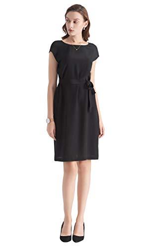LilySilk Damen Seidenkleid Cocktailkleid Abendkleid Kurz aus Seide von 16 Momme - Schwarz mit vorne Rundkragen und Hinten V-Auschnitt, L Verpackung MEHRWEG High-heel-editor