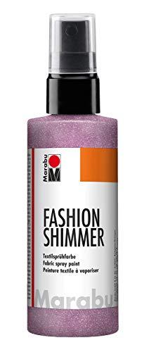 Marabu 17180050534 - Fashion Shimmer, Textilsprühfarbe auf Wasserbasis, für dunkle Textilien, einfache Fixierung, waschbeständig bis 40°C, geeignet zum Schablonieren, 100 ml, schimmer rosa -