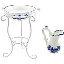 MagiDeal 1:12 Set Di Mini Vaso Da Acqua Lavandino Rack Miniatura Floreale Stampata Decorazioni Casa Bambole Porcellana Metallo