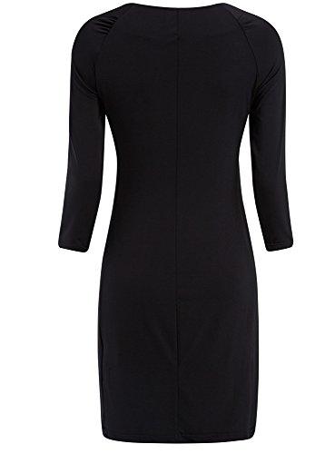 oodji Collection Femme Robe Ajustée avec Zips Décoratifs Noir (2900N)
