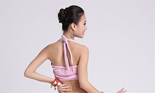 Dance Tops Bauchtanz Costume Top Bra Blouse Sleeveless Bauchtanz Tops Light Pink