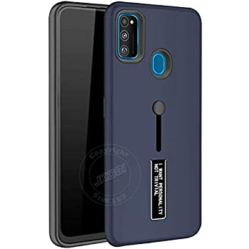 Jkobi Hard Back Case Cover for Samsung Galaxy M30s Dual Layer Personality TPU + PC Cover with Stand & Finger Holder -Blue