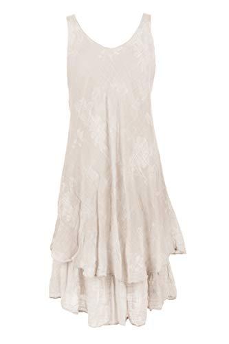 TEXTURE Ladies Womens Lagenlook Italian Sleeveless V Neck Floral Layered Midi Dress One Size (Beige, One Size) - Floral Layered