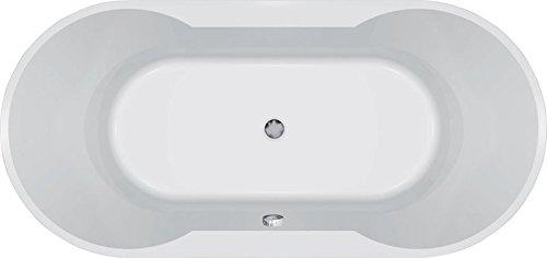 Oval-Badewanne Viola 180 x 85 cm weiß Acryl Komplettset mit Wannenträger und Ablaufgarnitur