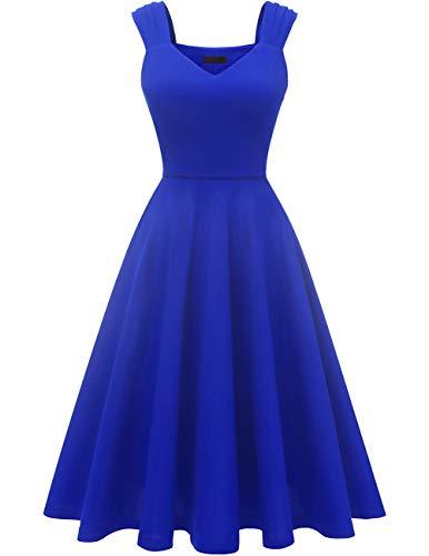 DRESSTELLS 1950's Robe de soirée Cocktail Vintage années 50 col en V sans Manches Longueur mi-Mollet Royal Blue S