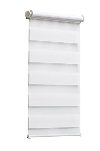 TEXMAXX Fensterrollo Duo-Rollo Doppelrollo Sonnenschutz mit Kettenzug und Klemmfix ohne bohren in WEISS, Leisten in Weiss - 95 x 150 cm - inkl. Zubehör