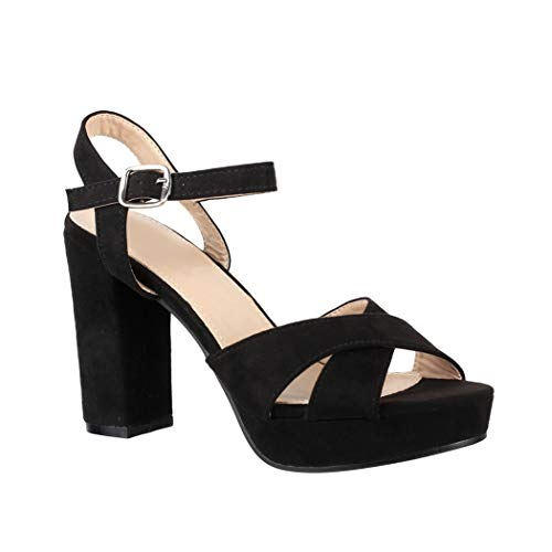 Elara Damen Pumps | Bequeme Peep-Toe Pumps | Trendige Plateau High Heels | Chunkyrayan YL96094 Black-41 Sexy Damen Pumps
