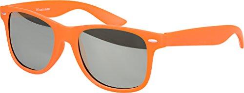 Hochwertige Nerd Sonnenbrille Rubber im Wayfarer Stil Retro Vintage Unisex Brille mit Federscharnier - 96 verschiedene Farben/Modelle wählbar (Orange - Silber verspiegelt)