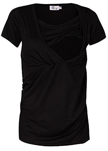 Happy Mama. Damen Umstandsmoden Top Stillshirt Lagendesign Empire-Taille. 790p (Schwarz, EU 44/46, 2XL)