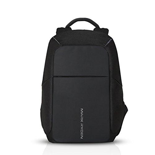 FANDARE 15.6 Pollici Antifurto Zaino Scuola con Porta USB Unisex Universitaria Viaggio Daypack Uomo Borsa Polyester Nero BB