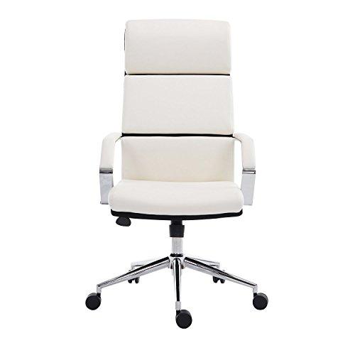 Homcom sedia da scrivania poltrona da ufficio girevole regolabile in ecopelle 74,5 x 63 x 116,5-124cm bianco