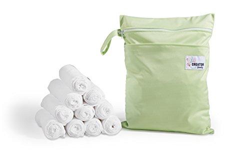 10 Mulltücher + wasserdichte Tasche I Spucktücher weiß, 80x80cm, schadstoffgeprüft, ÖKO-TEX zertifiziert, doppelt gewebt, kochfest, verstärkte Umrandung I Nasstasche 30x40cm, 2 wasserdichte Fächer mit Reißverschluss, Schlaufe zum Aufhängen I Mullwindeln / Stoffwindeln mit wet bag fürs Baby