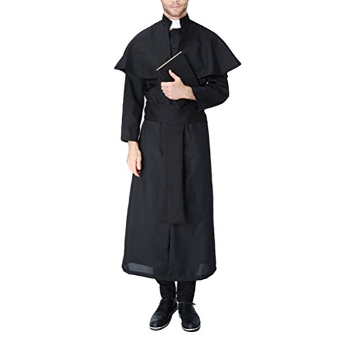 Up Dress Mens Outfits (Zhuhaitf lustiges kleid Adults Mens Halloween Christmas Cosplay Costume Missionary Priest Fancy Party Dress Costume)