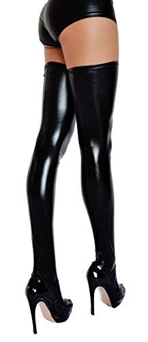 Halterlose Overknee Strümpfe in Wetlook Optik – Größe XL (Sexy Stiefel)
