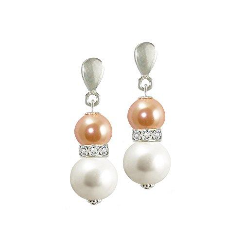Sierra Nektarine & Weiß Shell Pearl & Kristall Drop Ohrstecker mit Geschenk-Box