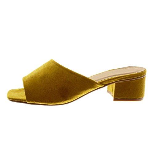 Angkorly Chaussure Mode Sandale Mule Slip-On Femme Talon Haut Bloc 5 cm Jaune
