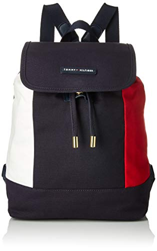 Tommy Hilfiger Unisex-Erwachsene Flap Backpack for Women TH Flag Canvas Rucksack, Tommy Navy, Einheitsgröße