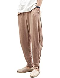 Nvfshreu Pantaloni Estivi da Larghi Uomo Pantaloni da Uomo Pantaloni da  Stile Semplice Harem Pantaloni Solidi Pantaloni Casual con… 1dd45987eca2