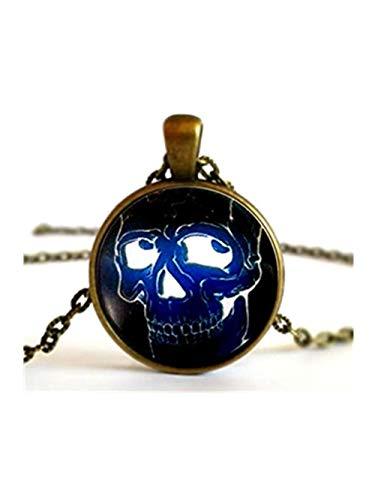 kopf Skelett Glow Halskette Anhänger Oder Brosche Pin Dome Glas Schmuck, Pure Handgefertigt ()