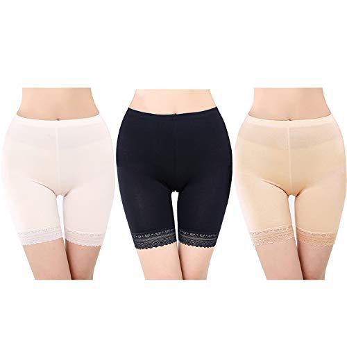 FEPITO 3 Pairs Frauen Unter Rock Shorts Sicherheitshosen Weiche Stretch Lace Trim Leggings Kurze Yogahosen Plus -